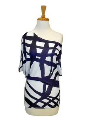 Graphic In the Navy Asymmetrical Top - The Fuss Boutique